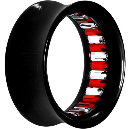 Body Candy Acrylic Black Sparkling Red and Clear Inlay Saddle Tunnel Plug (1 Piece) - Red And Black Candy