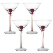 4 Glassworks Infinity 8-Ounce Martini Cocktail Glasses Red Drop Bar Clear Stem