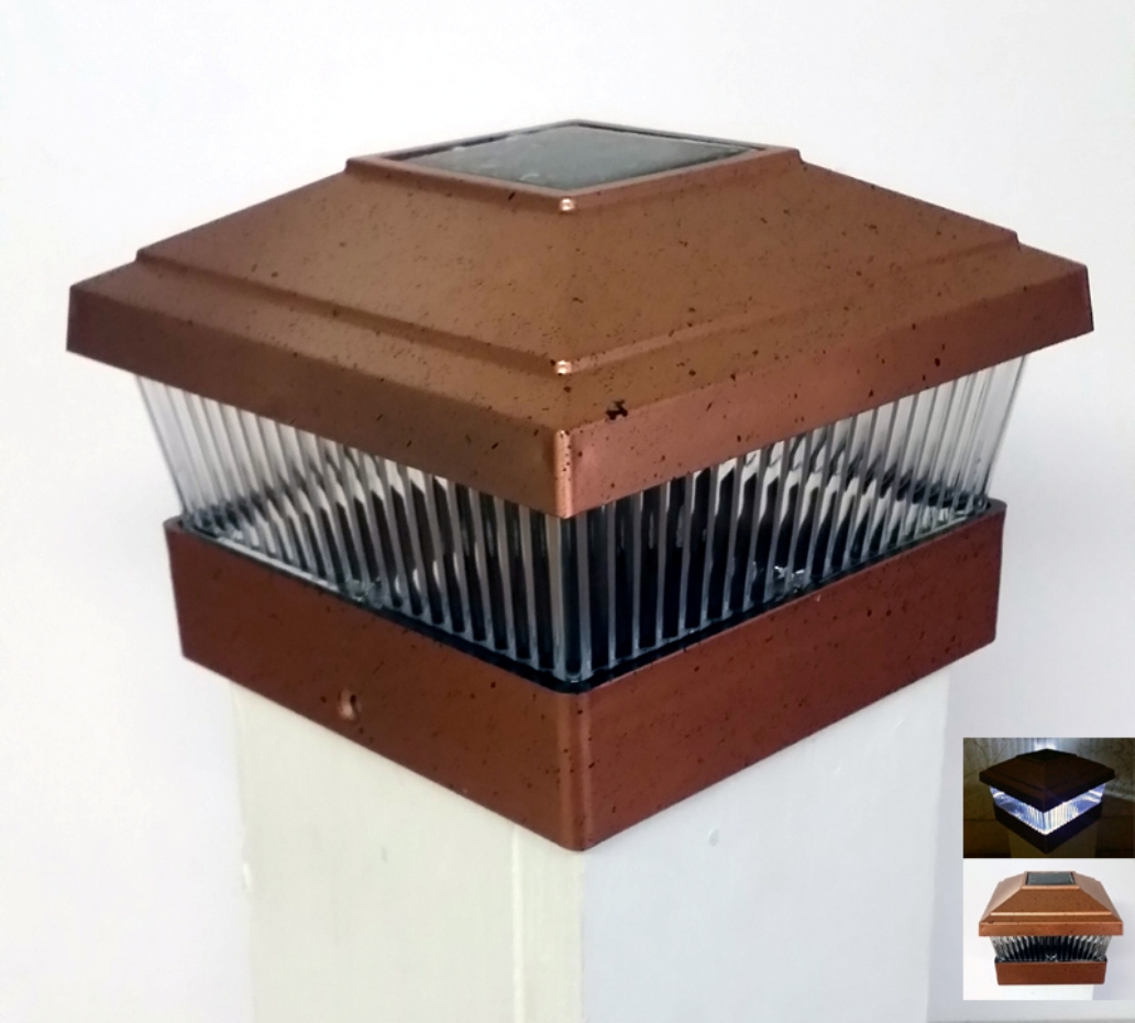 (12 Pack) Solar Powered Outdoor Garden 5x5 Fence Post Cap LED Light, Copper