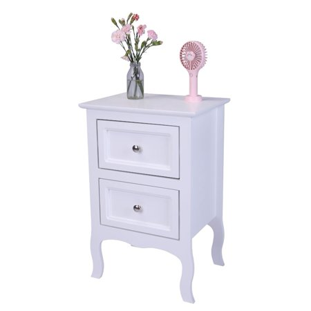 OTVIAP Country Style Two-Tier Night Table Large Size White, Nightstand Table, Bedroom Bedside Table