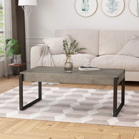 Shaw Modern Contemporary Industrial Faux Wood Coffee Table
