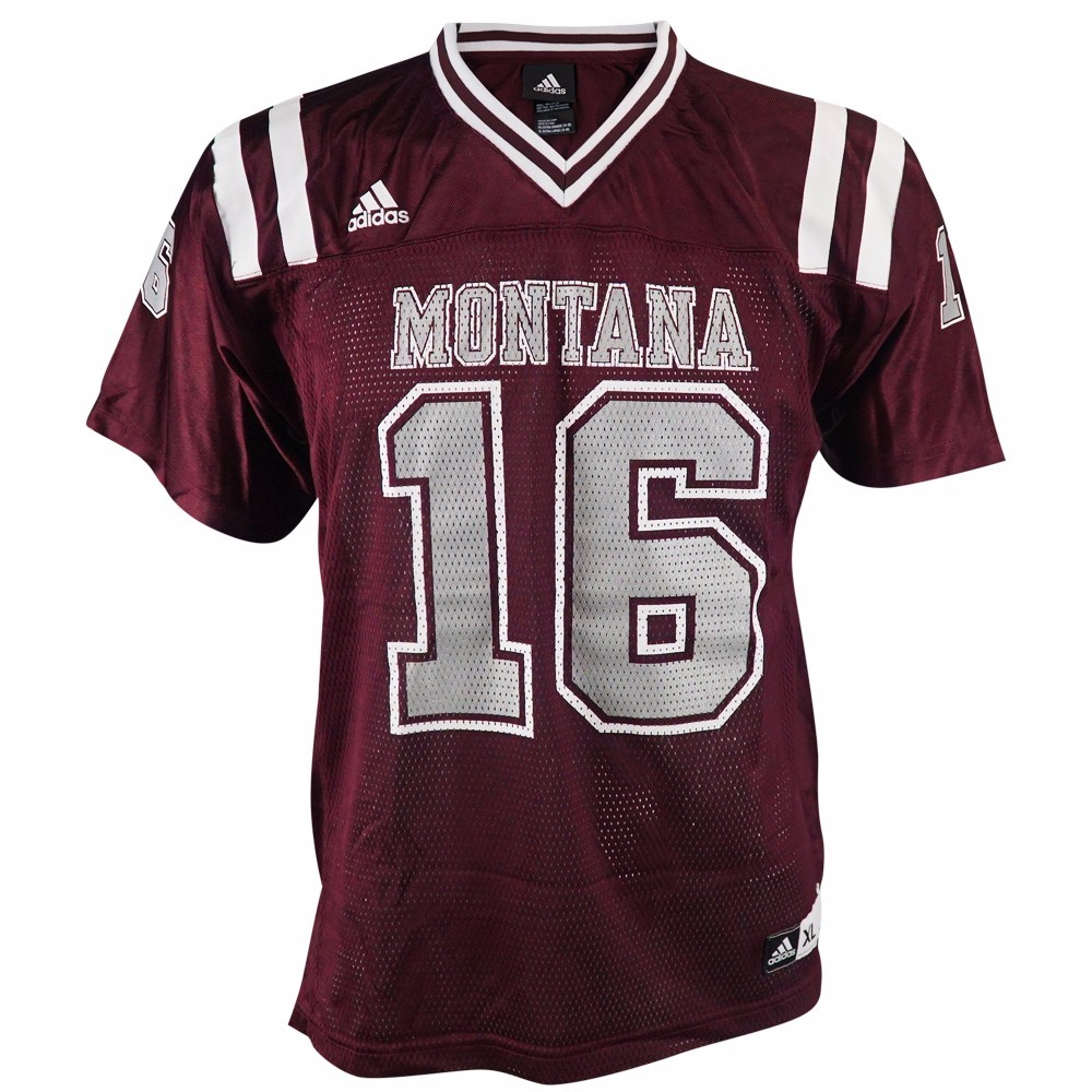 Montana Grizzlies NCAA Adidas Maroon Official Home #16 Replica Football Jersey For Youth