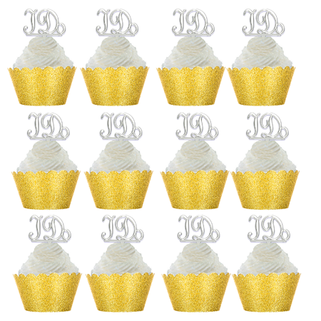 12pk i do wedding bridal shower cupcake toppers w gold glitter wrappers