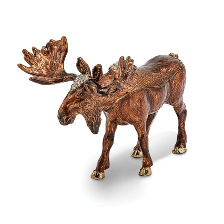 Bejeweled Trinket Box - Bejeweled Pewter Enamel Moose Trinket Box