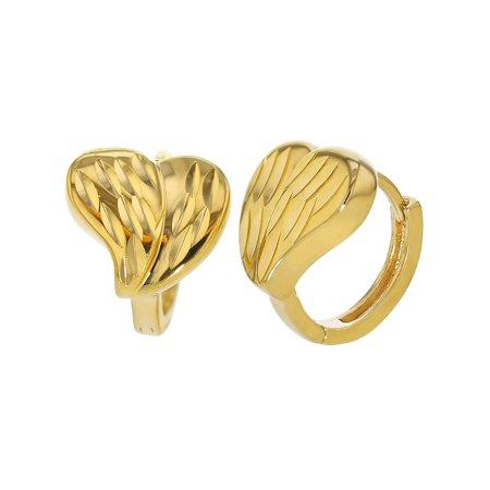 14k Gold Plated Textured Love Heart Small Hoop Huggie -