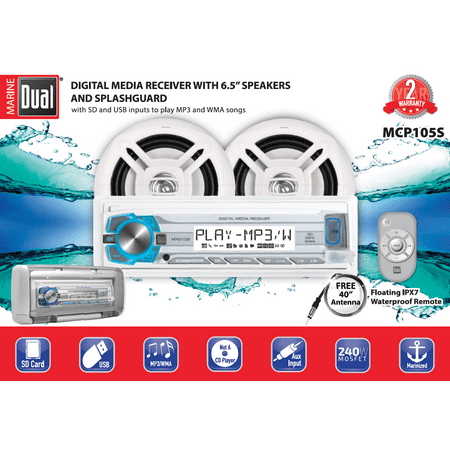 Dual Electronics MCP105S Multimedia Detachable Single DIN Marine Stereo with Built-In Bluetooth, USB & SD Card Ports, Two 6.5 inch Dual Cone Marine Speakers, Waterproof Remote & Marine Antenna