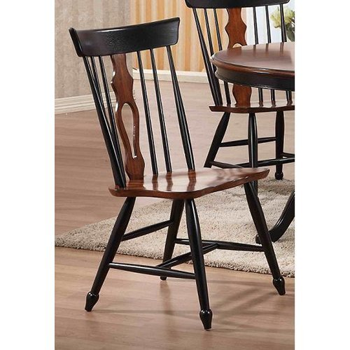 Sunset Trading Fiddleback Dining Chairs - Set of 2 - Black & Chestnut
