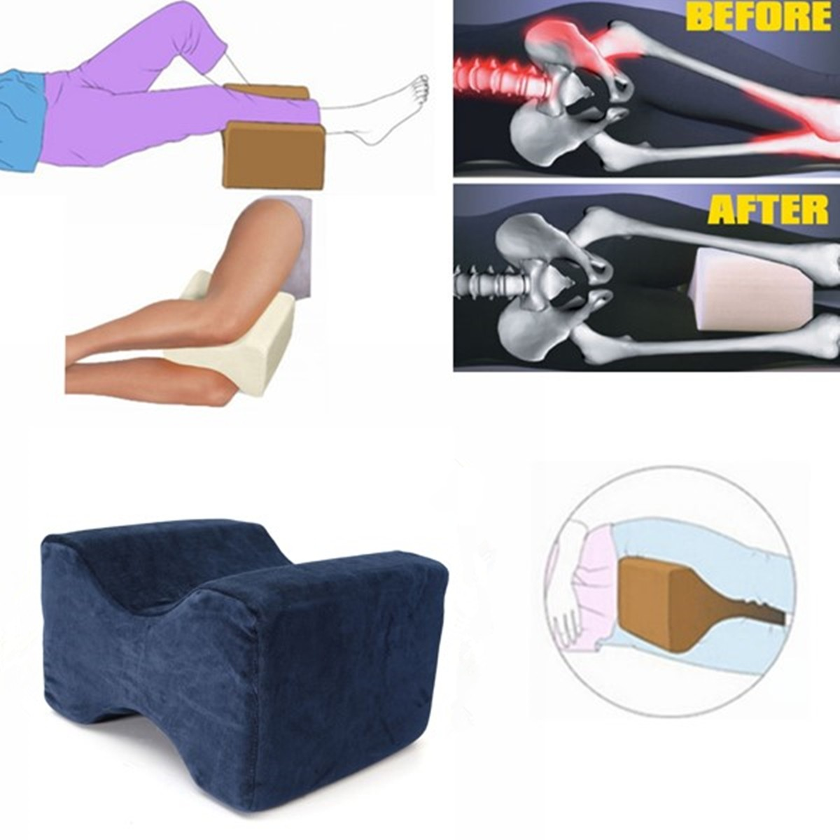 saiclehome memory foam orthopedic knee wedge pillow spinal senses legs support coccyx pressure relief bed cushion