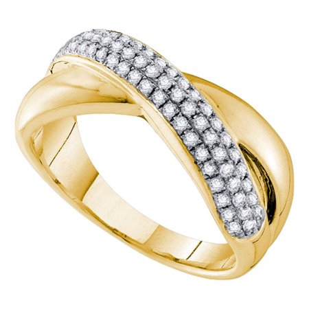 14Kt Yellow Gold Womens Round Pave Set Diamond Crossover Band Ring 3 8 Cttw