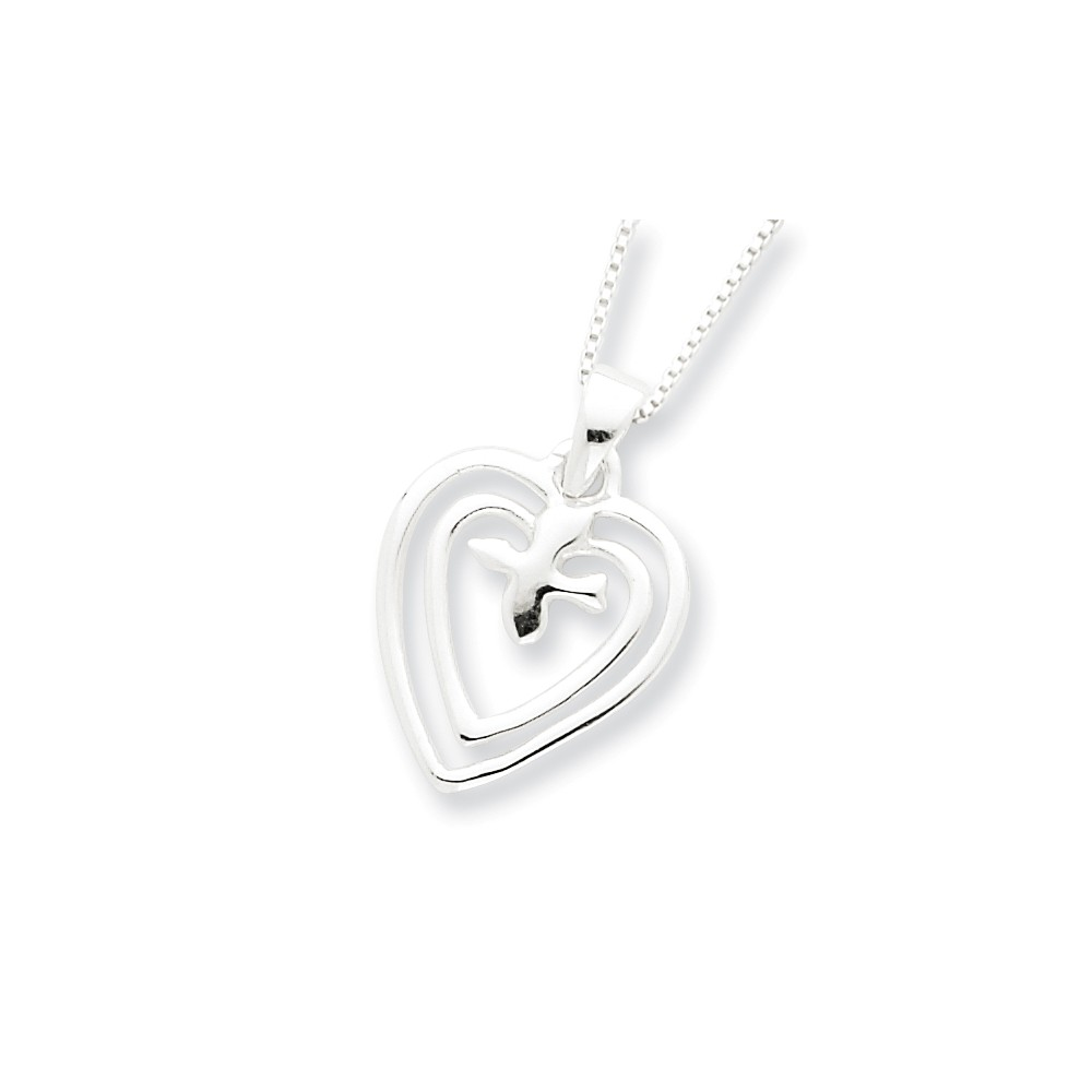Sterling Silver 18in Hearts w/ Dove Necklace