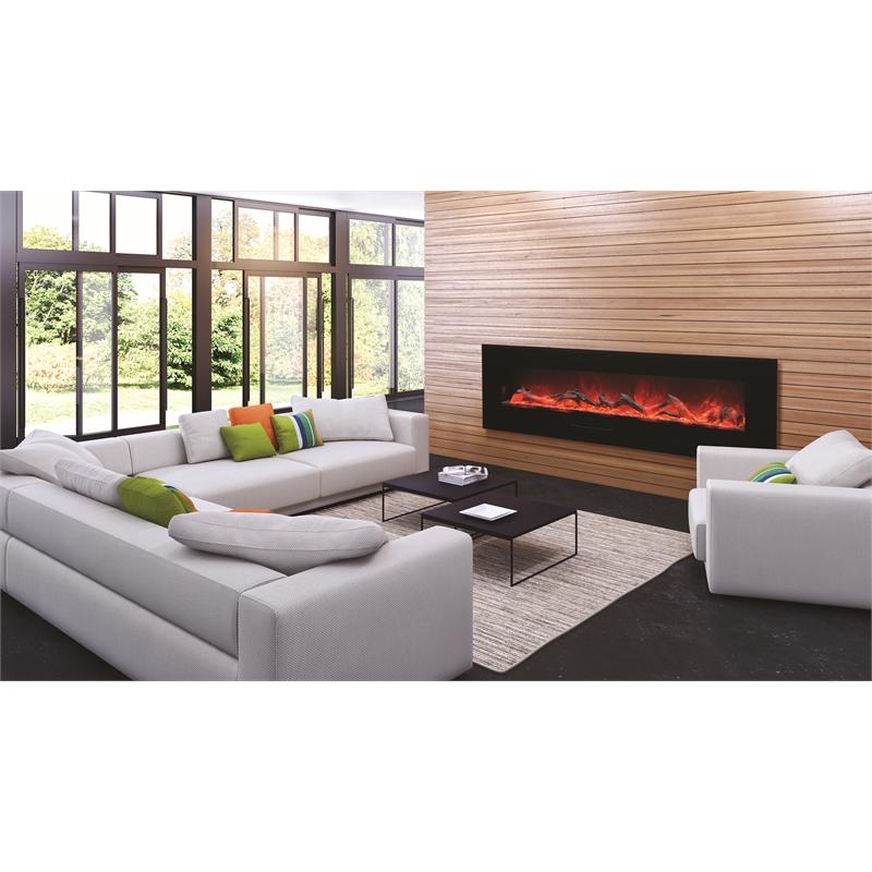 """Amantii 72"""" Flush Mount fireplace with Black Glass Surround Log set"""