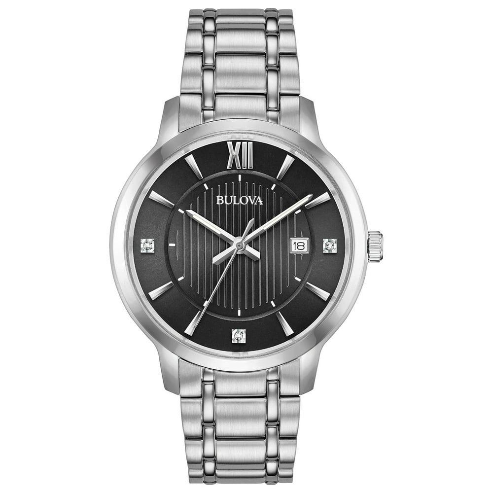 Bulova Men's Diamond-Accent Stainless Steel Watch