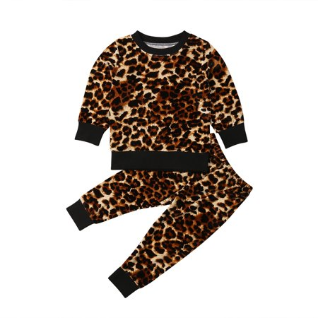 394604287b61b3 Honganda - Trendy Toddler Kids Baby Girl Leopard print Clothes Tops Pants  Leggings 3Pcs Outfits - Walmart.com