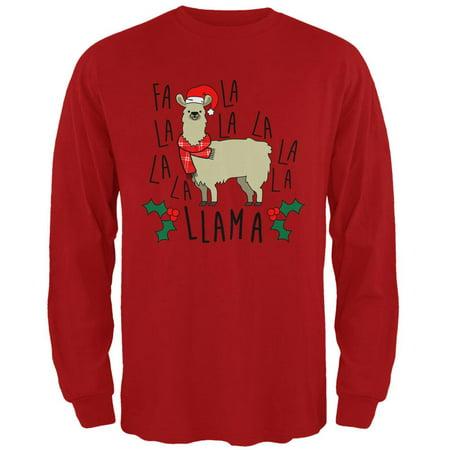 Christmas Fa La Llama Mens Long Sleeve T - Christmas Llama