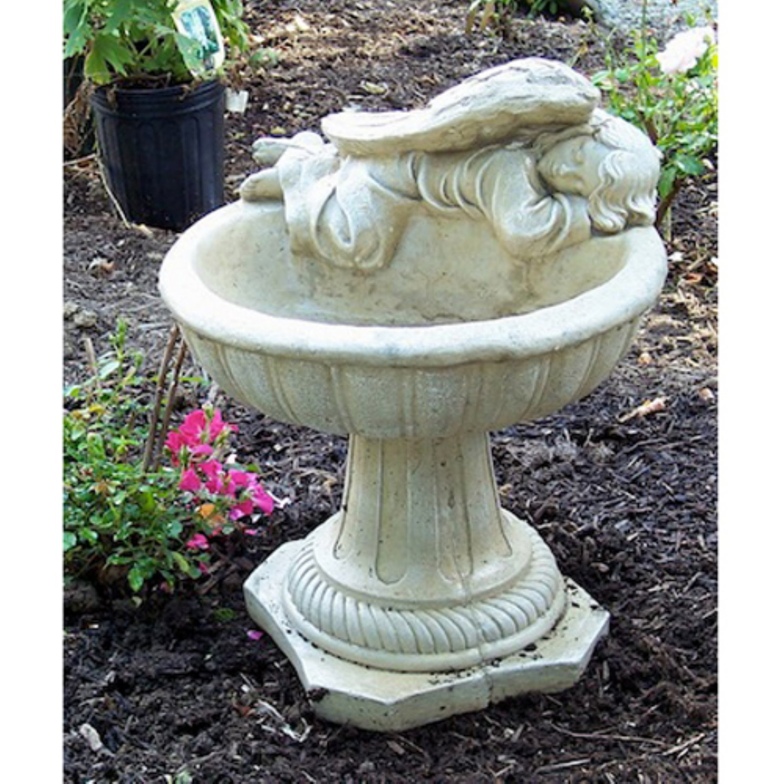 Athena Garden Cast Stone Heavenly Angel Bird Bath