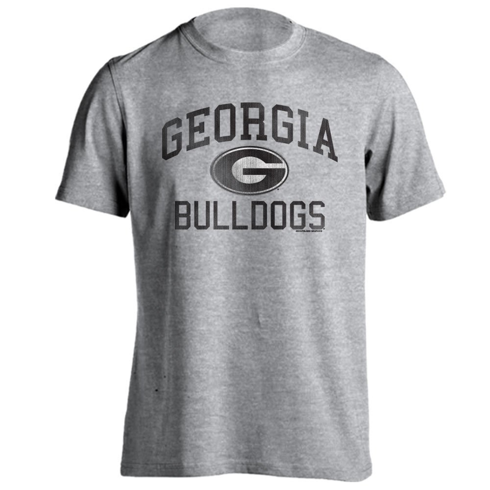 Georgia Bulldogs UGA Distressed Retro Logo Athletic Heather Short Sleeve T-Shirt by Southland Graphics Apparel