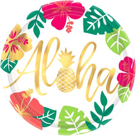 Hawaiian Luau 'Aloha' Extra Large Paper Plates (8ct)](Aloha Party Supplies)