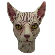 Bowake Hairless Cat Latex Horse Head Mask Costume Collectible Prop Scary Mask Toy
