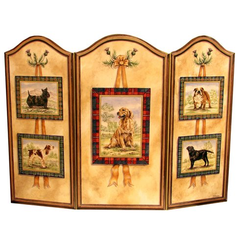 Stupell Industries Five Dogs 3 Panel Fireplace Screen
