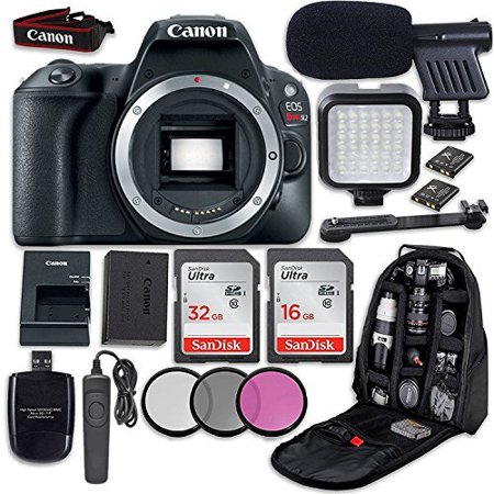 Canon EOS Rebel SL2 DSLR Camera (Body Only) + LED Light + Microphone + Video Accessory Bundle