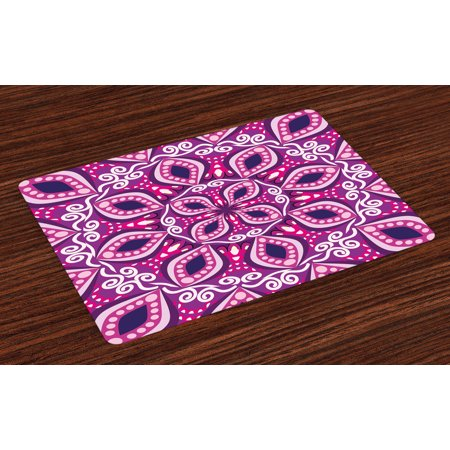 Floral Placemats Set of 4 Trippy Flower Motif with Modern Lace Effects and Dots Victorian Swirls Print, Washable Fabric Place Mats for Dining Room Kitchen Table Decor,Magenta Pink Plum, by Ambesonne