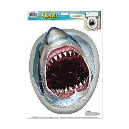 Pack of 12 Scary Shark Toilet Topper Peel 'N Place Halloween Decorations 17