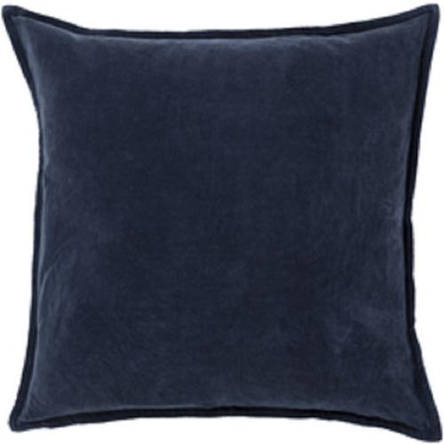 "20""Calma Semplicita Dark Navy Blue Decorative Square Throw Pillow - Down Filler"