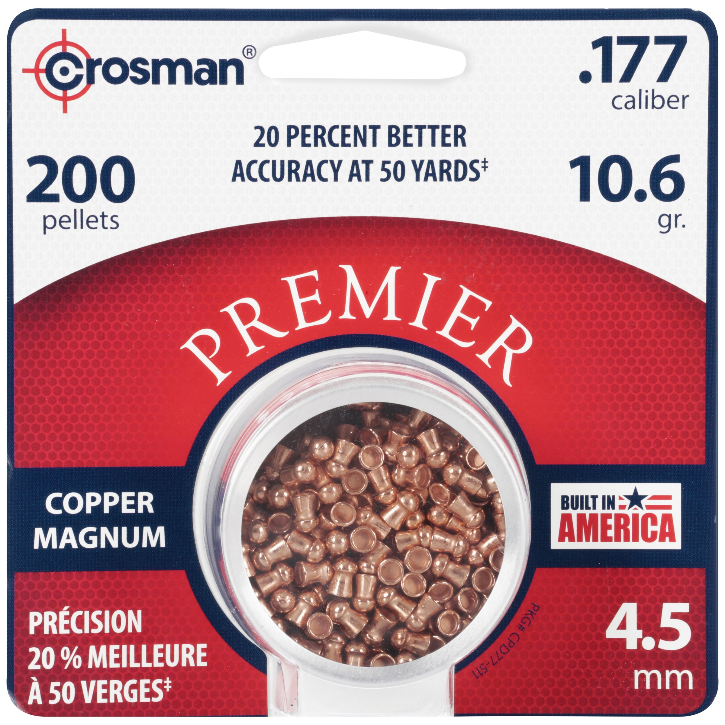 Crosman Copper Magnum Domed Pellet .177 Caliber 10.6 Grain 200Ct. CPD77