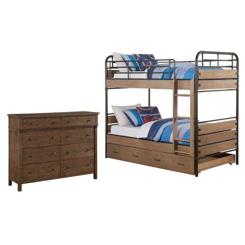 Set of 2 Twin Over Twin Bunk Bed and 8 Drawer Dresser in Oak