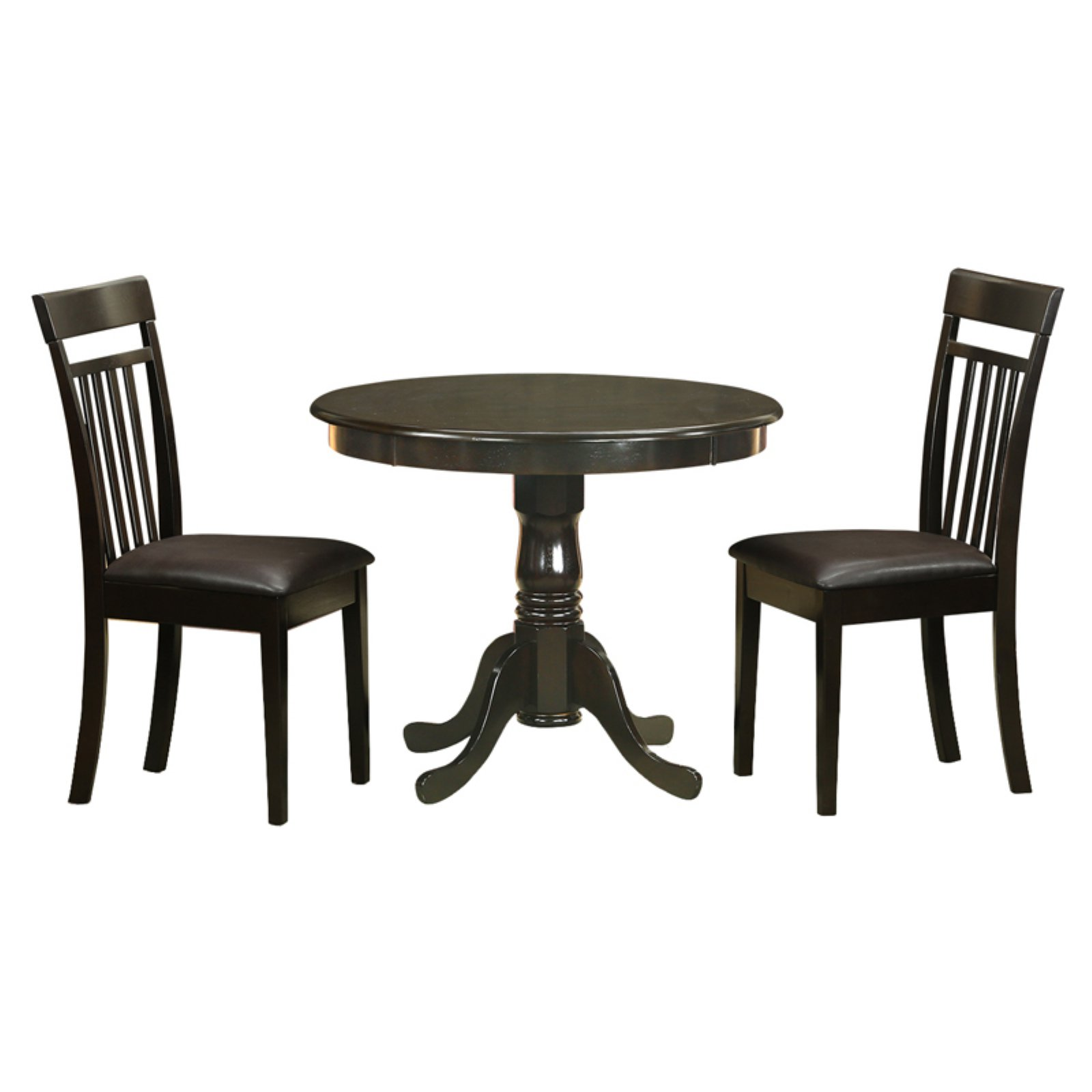 East West Furniture Antique 3 Piece Pedestal Round Dining Table Set with Capri Microfiber Seat Chairs