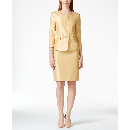 Le Suit NEW Yellow Gold Womens Size 6 Two-Piece Suiting Skirt Suit Set Two Piece Skirt