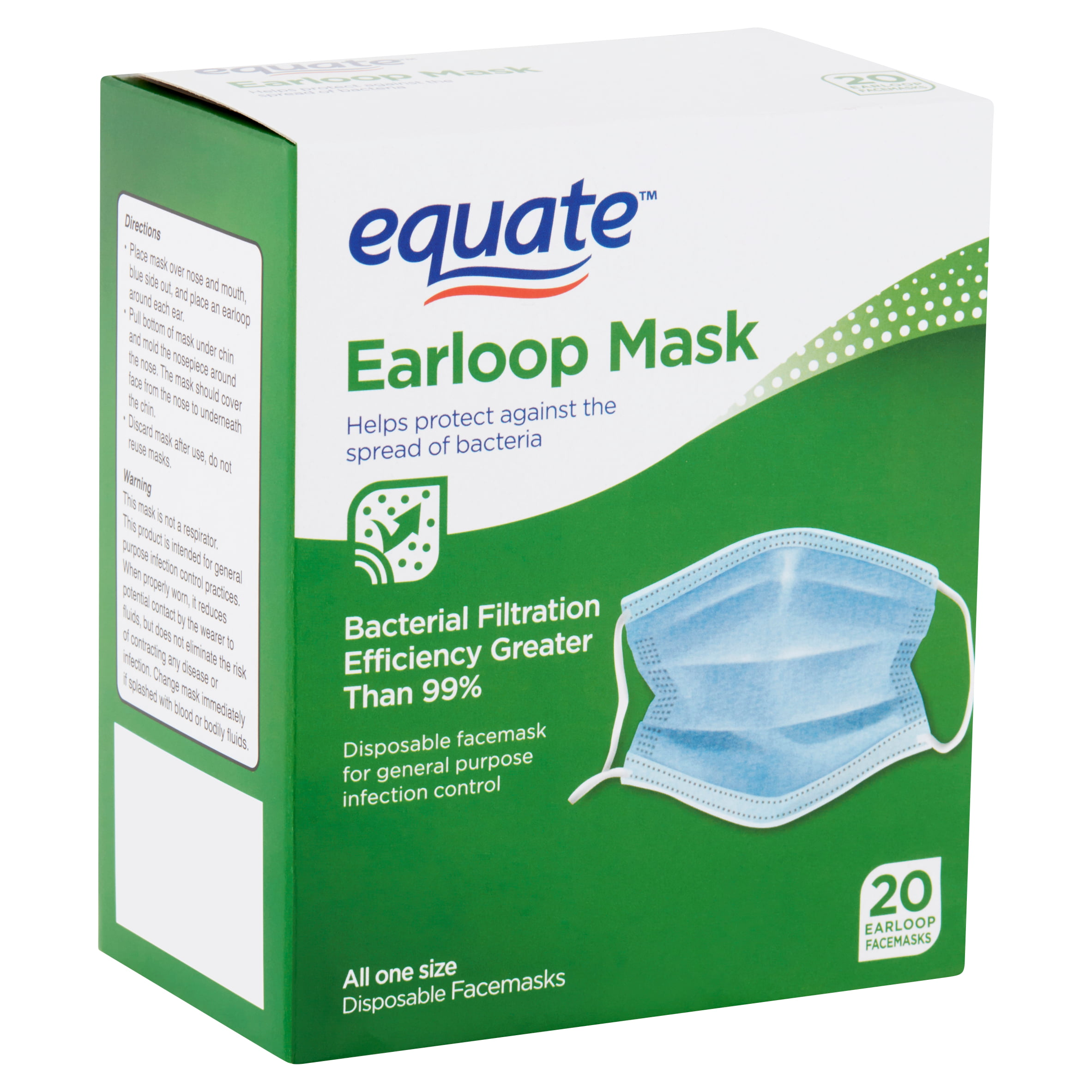com Earloop Facemasks - 2 Disposable Pack Walmart 20 Equate Count