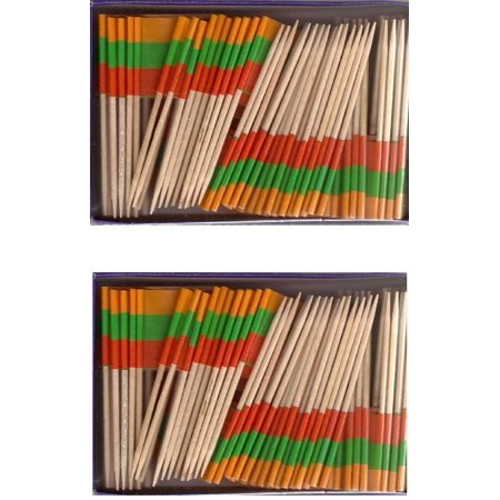 2 Boxes of Mini Lithuania Toothpick Flags, 200 Small Lithuanian Flag Toothpicks or Cocktail Sticks & Picks