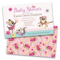 Personalized Woodland Creatures Baby Shower Invitations