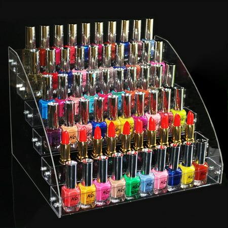 2/3/4/5/6/7 Tier Acrylic Clear Nail Polish Holder Rack Shelf Cosmetic Display Stand Makeup Organizer Table Rack Shelf , Hold 20-70 Bottles (Acrylic Enamel Clear)