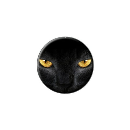 Black Domestic Cat Gold Eyes Lapel Hat Pin Tie Tack Small Round