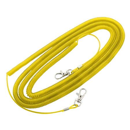 Lanyard  Spring Belt Metal Clip Hook Tackle Tool Fishing Rope Yellow 10M