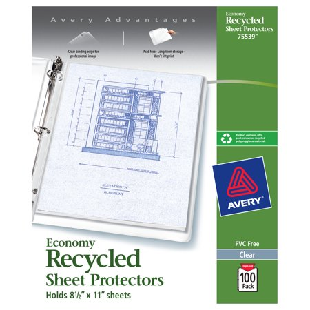 Avery 75539 Top-Load Recycled Polypropylene Sheet Protector, Clear (Box of 100) (Loading Recycled Polypropylene Sheet Protectors)