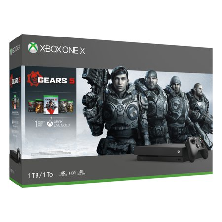 Microsoft Xbox One X 1TB Gears 5 Bundle, Black, CYV-00321