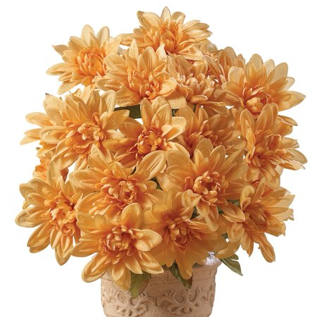Collections Etc. Artificial Chrysanthemums, Low-Maintenance Colorful Artificial Flower Bouquets, Set of 3, Champagne