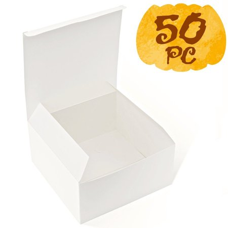 MESHA White Boxes 50 Pack 8x8x4 Inches, White Cardboard Gift Boxes with Lids for - Cardboard Gift Boxes With Lids