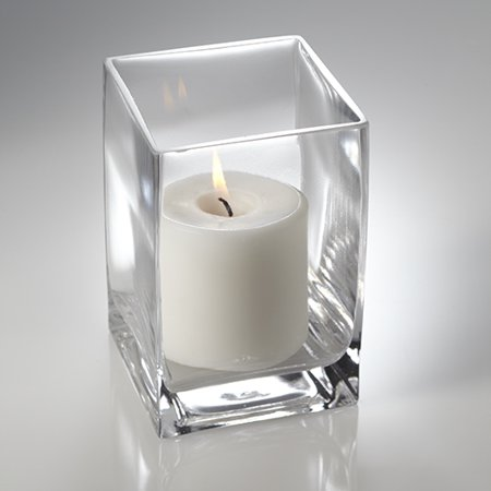 "Richland Pillar Candle 3"" & Eastland Square Holder 6"" White Set of 12"