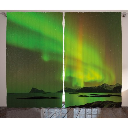 Northern Lights Curtains 2 Panels Set, Magical Enchanted Universe Sky with Reflections Tranquil Scenery, Window Drapes for Living Room Bedroom, 108W X 90L Inches, Lime and Reseda Green, by Ambesonne