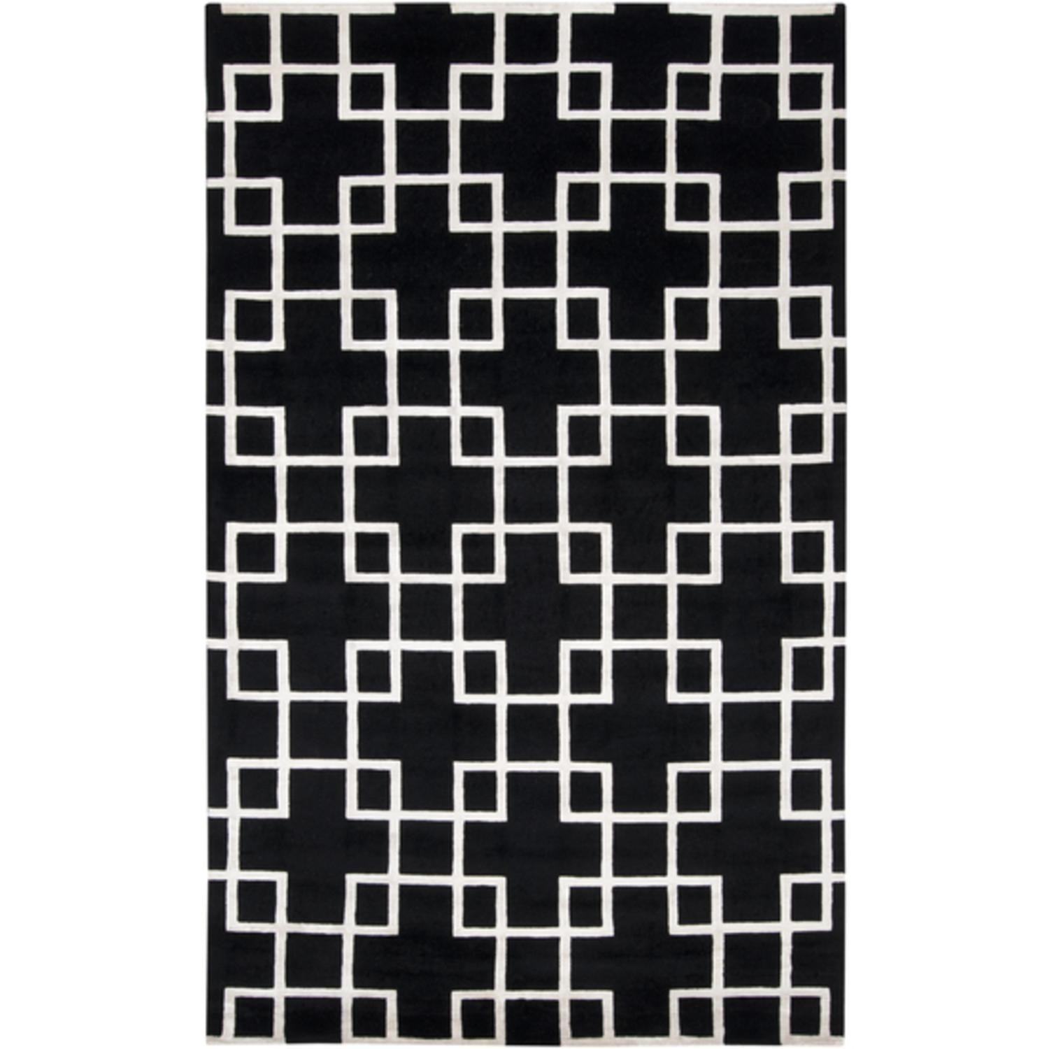 8' x 11' Geometrical Square Crosses Black Caviar and White Wool Area Throw Rug