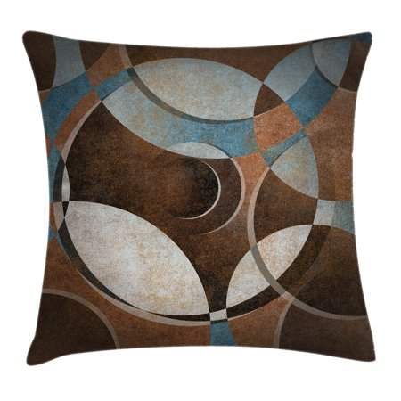 Abstract Throw Pillow Cushion Cover, Grunge Vintage Style Contemporary Circular Round Geometric Figures Artwork, Decorative Square Accent Pillow Case, 16 X 16 Inches, Umber Slate Blue, by Ambesonne