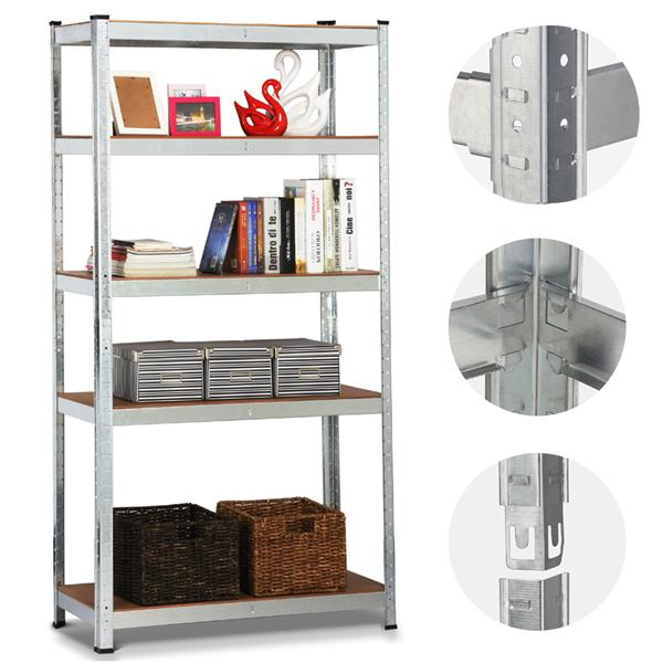 """Heavy Duty 5 Tier Commercial Industrial Racking Garage Shelving Unit Adjustable Display Stand,59.1"""" Height"""