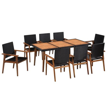 Outdoor Dining Set, 9 Pieces Vintage Poly Rattan Dining Set Black and Brown ()