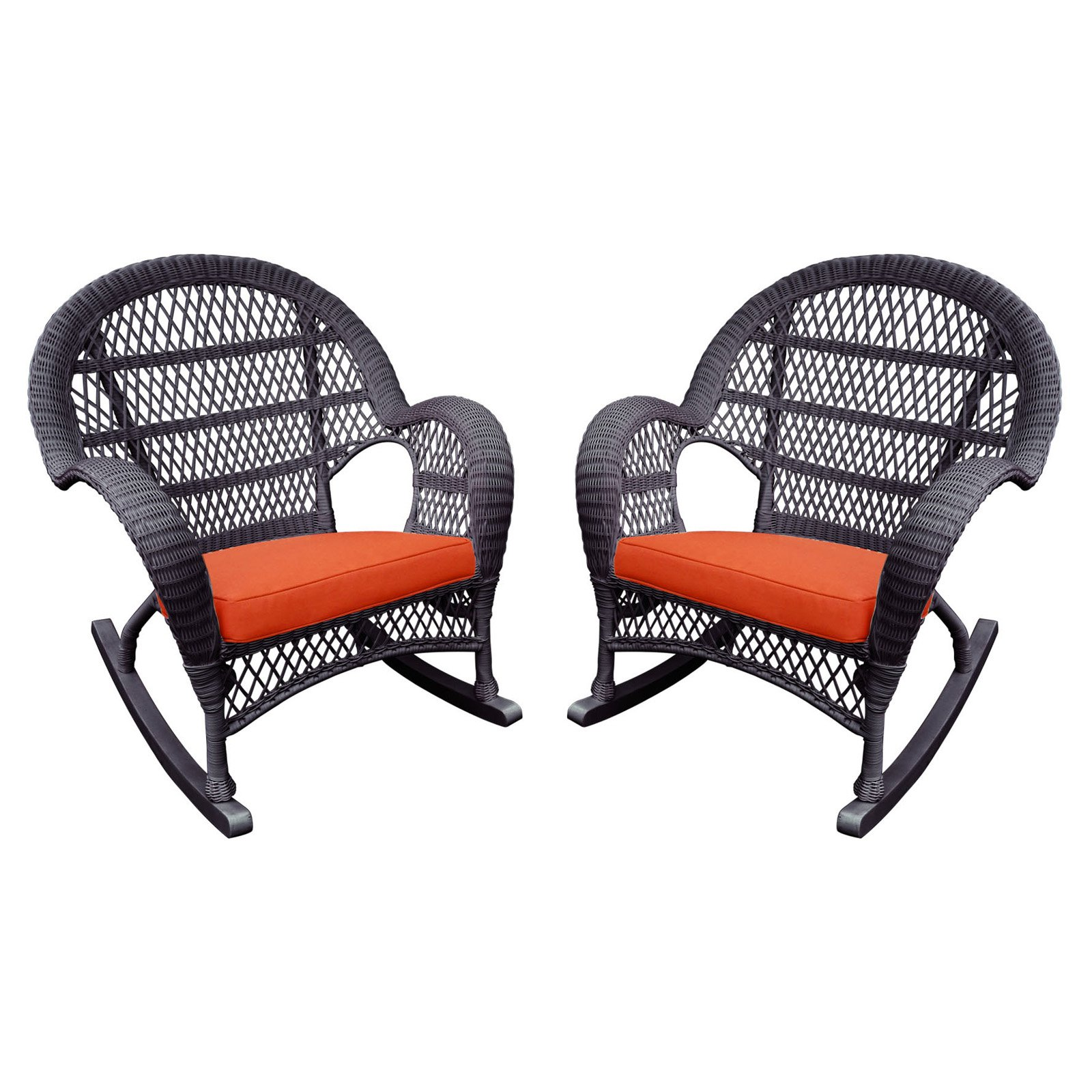 Jeco Santa Maria Wicker Patio Rockers with Optional Cushion - Set of 2