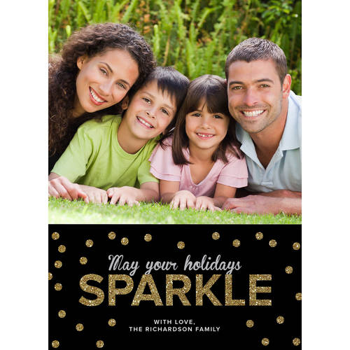 Sparkle Peace Love Joy - 5x7 Personalized Holiday Card