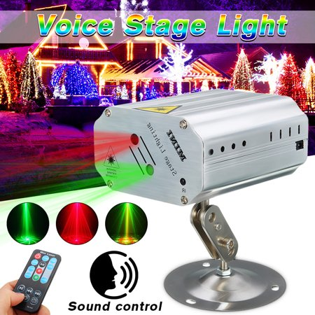 LED Laser Stage Light Projector 3 Colors Mini Auto Voice Music Control Laser Light DJ Disco KTV Bar Party Lighting with Remote Control - Music Laser Light